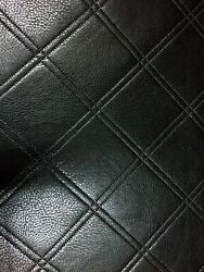 Faux Leather Upholstery Black Diamond Pleather Vinyl Padded Embossed 54quot; Wide $15.97