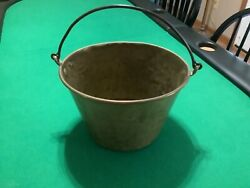 Antique Large Copper Pail Bucket Wrought Iron Handle Rolled Copper Edge $80.00