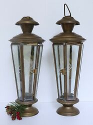 LOT of 2 Vtg BRASS Hanging Candle LANTERN Holders HEXAGON Etched Starburst GLASS $39.95