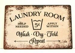 Laundry Room Tin Sign Poster Wall Art Decor Vintage Look Rustic Shabby Chic $8.97