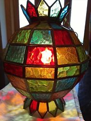 MID CENTURY VINTAGE HANGING SWAG STAINED GLASS CANDY WRAPPER SHAPED LAMP LIGHT $200.00