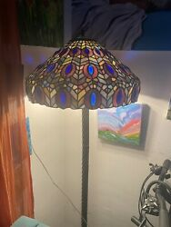 Tiffany Lamp Stained Glass Floor Lamp Antique Vintage Purple Blue Multicolored $10000.00