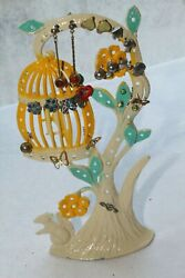 Vintage Torino Bird Cage Hanging In Tree With Squirrel Flowers Earring Holder $14.00