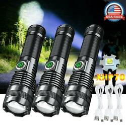 LED Flashlight Super Bright 350000LM Zoomable USB Rechargeable XH P70 Torch Lamp $13.76
