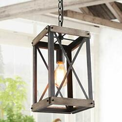Farmhouse Pendant Lighting Fixture Rustic Wood Cage Chandelier for Kitchen $185.30