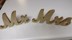 Mr Mrs Sign Table Gold Glitter Free Standing Wooden Rustic Wedding Decor $19.99