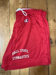 Women's Vintage Throwback Champion Ball State Cardinals Gymastics Red Shorts M $24.00