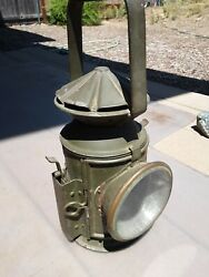 WW2 British Army Signal Lantern dated 1945 oil fueled empty orig paint rare $125.00