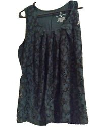 NYamp;C Womens Green And Lace Sleeveless Top L $5.99
