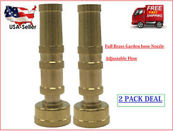 Solid Brass Garden Spray Nozzle 4quot; Adjustable Twist Water Hose USA Stock 2 PACK $9.99