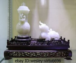 Old Chinese White Jade Nephrite Carved brave troops Beast and Jade Vase A Set LL $25500.00