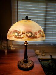 Reverse hand painted vintage lamp 16.5quot; tall $110.00