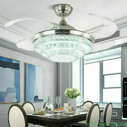 42quot; Invisible Ceiling Fan Light LED Hanging Chandelier Dimmable 3 Color Lamp $166.25