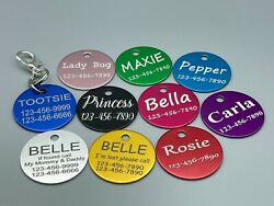 CUSTOM ENGRAVED PET TAG PERSONALIZED ID DOG CAT NAME TAGS ENGRAVE DOUBLE SIDES $2.19