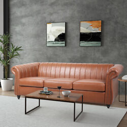 3 Seater Household Modern Living Room Sofa Rolled Arm Leather Chesterfield Sofa $832.31