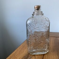 Beautiful MCM Vintage Glass Bottle With Embedded Cork Floral Atomic Pattern $22.50