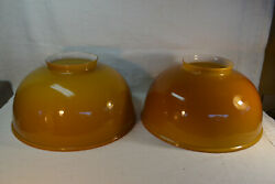 Set of Two Vianne Made in France Cased Orange Glass Lamp Light Ceiling Shades $220.00