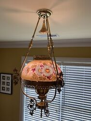 Converted Antique Hanging Victorian Oil Lamp Chandelier $400.00