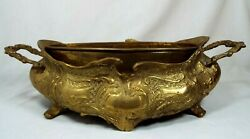 Vintage Brass Ornate Embossed Footed Jardiniere Stand W Handles Planter Insert $44.99