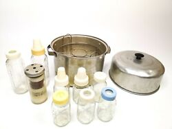 Vintage Baby Bottle Steamer With 8 Glass Evenflo Bottles Extras Lid Cap See Pic $164.97