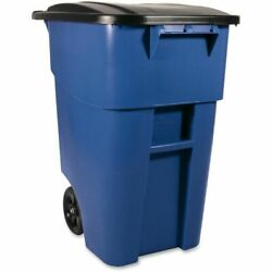 Rubbermaid Commercial Products Heavy Duty Wheeled Trash Garbage Can 50gal Blue