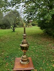 Vintage Stiffel Trophy Flame Accent Heavy Brass Table Lamp Mid Century $62.00