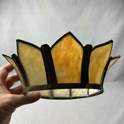 Antique Slag Glass Shade Topper Caramel White Panel Lamp Shade Top Crown $24.95