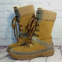 Bear Paw Serena Women#x27;s Brown Cow Suede Sheepskin Footbed Snow Boots Size 8 $49.93