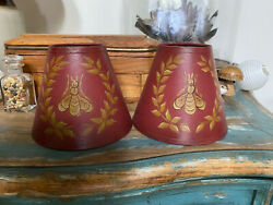 Pair Chandelier Shades for Candle Bulbs Clip On Bees Burgundy Deep Red Gold $24.00