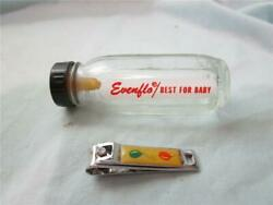 Vintage for Baby or Doll Nail Clips amp; Evenflo 3quot; Tall Clear Glass Mini Bottle $17.97
