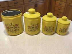 Vintage Kromex Aluminum Canisters Set Yellow Nesting Kitchen Canisters $19.00