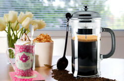 French Press Coffee amp; Tea Maker Complete Bundle 34 oz German Glass spoons 8 cup $19.99
