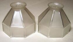 Antique Lamp Shade Pair Octagon Glass Deco Frosted Clear Light 2 1 4 Fitter #S34 $29.99