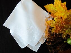 Vintage White Linen Hankie Embroidered Name THERESA Excellent Condition $8.00