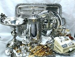 MIXED LOT VINTAGE ANTIQUE PITCHER CANDELABRA CARD RECEIVER COMPOTE SANDWICH TRAY $89.99