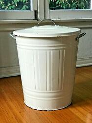 KNODD Steel Home Garbage Trash Can Waste Bin Recycle w Lid Ivory White 11 Gallon