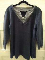 Navy blue long sleeve women#x27;s XS cotton Henley Top with decorative lace $11.00