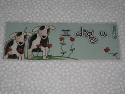 PRIMITIVE PUPPY DOG DOGS LAMINATED BOOKMARK $1.75