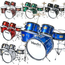 Mendini 5-Pcs Junior Kids Drum Set +Throne Cymbal ~Black Blue Green Silver Red $189.99