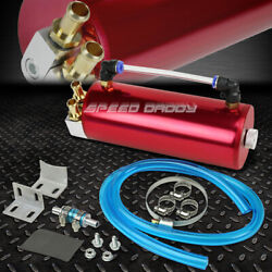 BILLET ALUMINUM HIGH CAPACITY ENGINE OIL CATCH TANK RESERVOIR BREATHER CAN RED $15.11