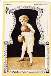 Real Photo Postcard RPPC Die Cut Novelty Little Boy Boxer Sports $79.99