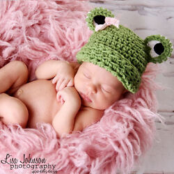 Melondipity Green Girl Frog Beanie Baby Hat crochet  knit Pink Bow