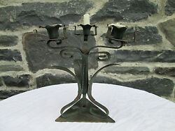 Vintage Italian Art Deco Metal Candelabra w Copper Leaves