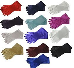 9quot; Wrist Length Stretch Satin Gloves for Wedding Bridal Prom Formal 14 Colors $6.49