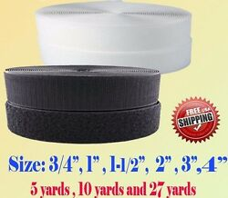 Black White Sew on Hook and Loop Tape 3 4quot; 1quot; 1.5quot; 2quot; 3quot; 4quot; 5quot; 6quot; 7 Fastener