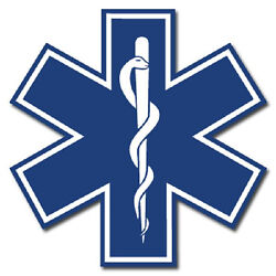 Star of Life 3quot; Die Cut Reflective Emergency Medical EMT Decal with Border $4.00
