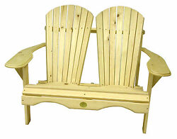 (1) The Bear Chair BC800P White Pine Adirondack Loveseat Patio Porch Chair K