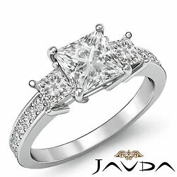 Elegant 3 Stone Princess Diamond Engagement Ring GIA I Color VS2 Platinum 1.8 ct