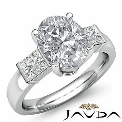 Bar Set Oval Diamond Three Stone Engagement Ring GIA G SI1 14k White Gold 1.6 ct