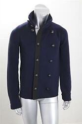 BALENCIAGA Mens Classic Navy Wool Knit Double-Breasted Cardigan Sweater Jacket M